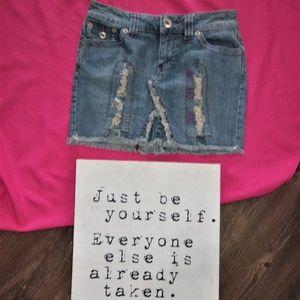 size 0 hippie boho mini denim jean skirt teen